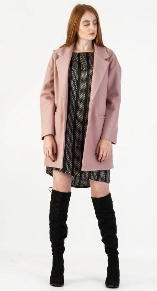 Παλτό  ροζ μέχρι το γόνατο